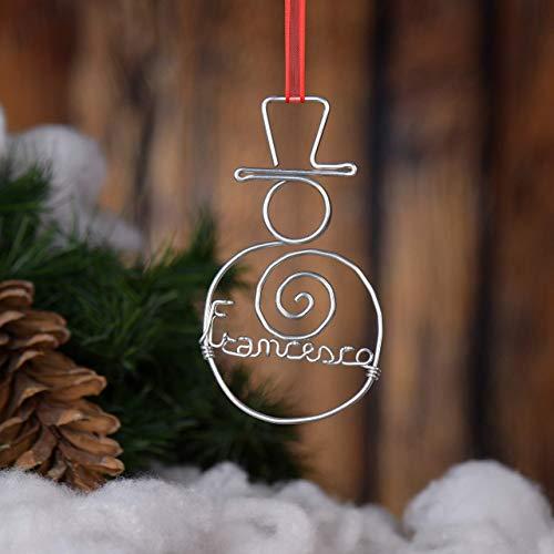 Pupazzo di Neve stilizzato,realizzato a mano,con scritta personalizzata.Leggero,adatto da appendere all'albero di Natale,sul muro,sulla porta.