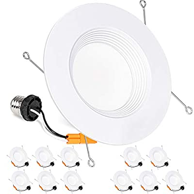 Hykolity 12 Pack 5/6 Inch LED Recessed Downlight, Baffle Trim, CRI90, 15W=100W, 1100lm, Dimmable, 5000K Daylight White LED Recessed Lights, Damp Rated, ETL Listed