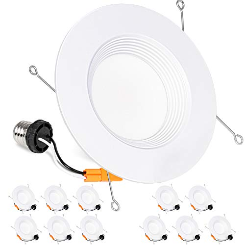Hykolity 12 Pack 5/6 Inch LED Recessed Downlight, Baffle Trim, CRI90, 15W=100W, 1100lm, Dimmable, 5000K Daylight White LED Recessed Ceiling Lights, Damp Rated, ETL Listed
