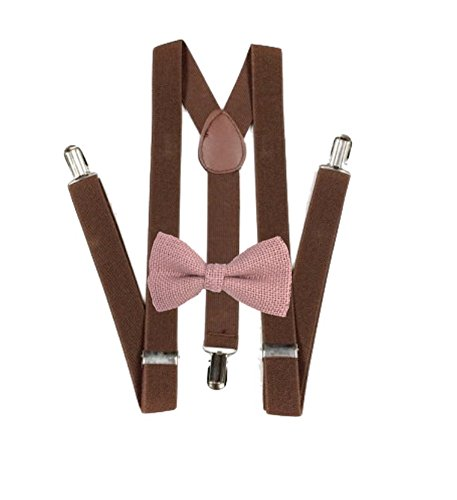 Hemp Bow ties and brown suspenders Set Combo Mens (Pink)