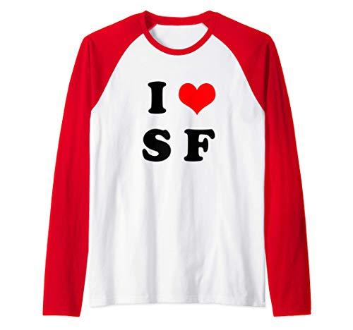 Diseño Divertido Para Sanfermineros I Love San Fermín Camiseta Manga Raglan