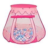 SELONIS Tente 105X90cm/100 Balles Château avec Les Balles Plastiques Piscine À Balles pour Enfants, Rose: Babyblue-Rose Poudré-Perle