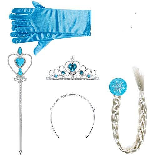 Eisprinzessin,Princess Dress-up Zubehör Sett mit Diadem Handschuhe Zauberstab Zopf Ohrringe Prinzessin Verkleiden Sich Accessoires für Mädchen Kinder Cosplay Party Blau