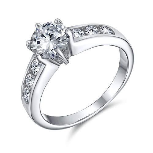 Bling Jewelry 2CT Ronda Brillante Solitario AAA CZ Cubic Zirconia 6 Prong Compromiso Anillo Canal Set Banda 925 Plata de Ley