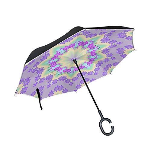 Rode voor regen, buiten omgekeerd, met paraplu, greep in C-vorm, FloralBig drank, dubbele laag, winddicht, omgekeerd.