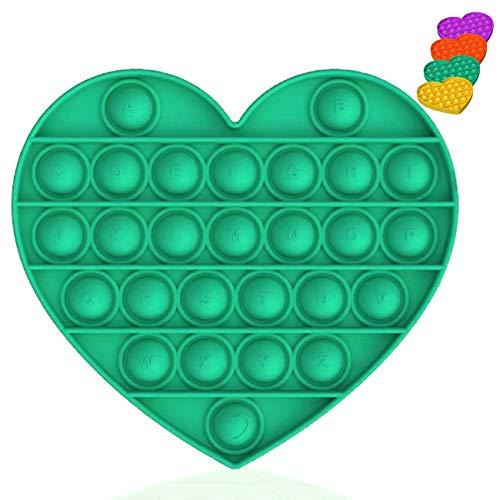 Bdwing Silicona Sensorial Fidget Juguete, Push Pop Bubble Sensory Toy, Autismo Necesidades Especiales Aliviador del Antiestrés del Juguetes para Niños Adultos Relajarse (Green-H)