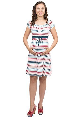 Viva la Mama - Umstandsmode Sommer Maternity Kleid Damen Stillkleid kurz ELLI bunt gestreift - M