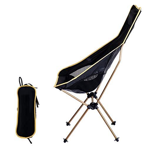 LIANGJING Chaise Pliante d'extérieur Chaise Dossier Ultra-légère Chaise de Plage Tabouret de pêche Chaise en Aluminium,Gold