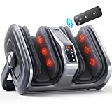 TISSCARE Foot Massager-Shiatsu Leg Massage Machine w/ Heat-3D Massage System-Muscle Kneading-Rolling-Air Compression-Variable Intensity Scraping for Plantar Fasciitis, Blood Circulation, Pain Relief