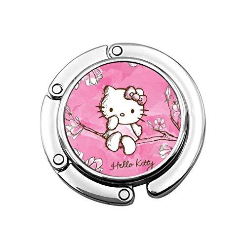 Colgador de Bolso Plegable para Bolso, Gancho para Bolso para Mesa de Coche, Almacenamiento de Bolso Plegable Hello Kitty sentada en un