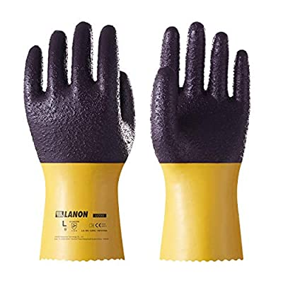 LANON U200 Heavy Duty PVC Safety Gloves, Reusable Ultra Grip Oil Resistant Work Gloves, Anti Abrasion, Anti-aging, Mechanical Resistance, CE Listed, CAT II, Extra Large