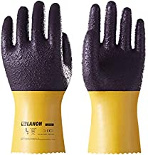 LANON PVC Coated Safety Work Gloves, Reusable Heavy Duty Gloves with Micro Granular Finish Palm, Non-Slip, Large