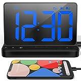 NOKLEAD Reloj Despertador Digital - Reloj Digital Sobremesa con 5 Sonidos de Alarma, Brillo Ajustable, Reloj Digital con Cargador USB, Pantalla LED Grande de 6.5 ', repetición y 12/24 Horas