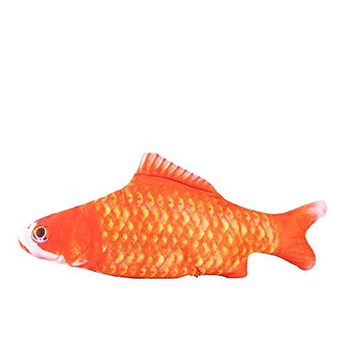 Eastbride Hierba Gatera Juguete,Juguete mordedor Gato Molar, simulación eléctrica Carpa pez Rojo,Realista...