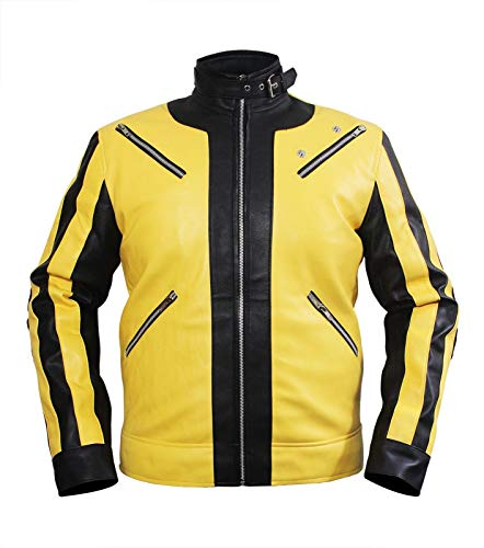 Uomo Wolfenstein 2The New Colossus Hi-Quality Vera & Giacca in Similpelle Yellow & Black Medium-Petto 102/107 cm