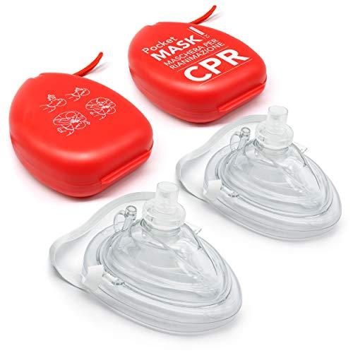 AIESI® Pocket Mask professionelle maske beatmungsmaske für beatmung mund zu mund mit einwegventil und filter (Packung mit 2 Stück) # CPR Mask-Resuscitator