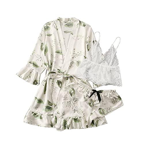 QSSS Satin Nachtwäsche Robe Damen Floral Drucken Kimono Nachthemd Sexy Schlafanzug Pyjama Frauen Spitze Negligee Reizwäsche V-Ausschnitt Bademantel Robe Dessous Kleid