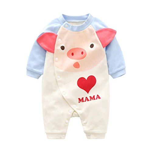 Mono de Bebe,Fossen Ropa Bebe Recién Nacido Bebé Mameluco deCerdo de Dibujos Animados Patrón Pijamas de Mangas largas Peleles para Dormir para Bebe niño niña