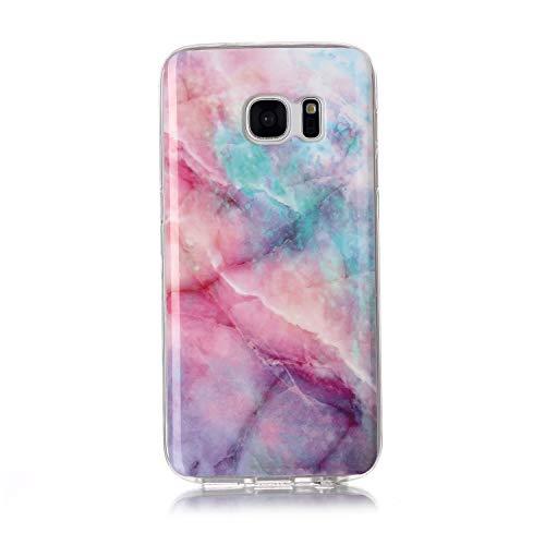 Homikon Silikon Hülle Marmor Muster TPU Handyhülle Ultra Dünn Matt Weiche Schutzhülle Stoßdämpfend Rückseite Soft Flexibel Tasche Case Cover Kompatibel mit Samsung Galaxy S7 - Rosa grün