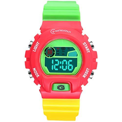 Digitaluhr Kinder, SOCICO Funktionelle Jungen Mädchen Armbanduhr 3ATM Wasserdicht mit Zeit, Datum, Woche, Hintergrundbeleuchtung, Alarm, Stoppuhr Kinder Uhr