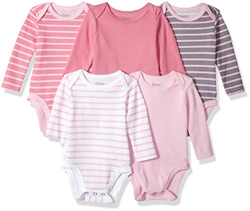 Hanes baby boys Ultimate Flexy 5 Pack Long Sleeve Bodysuits Bodystocking, Pink Stripe, 12-18 Months US