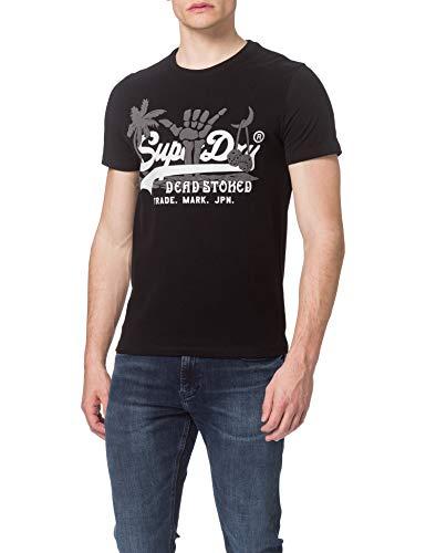 Superdry M1011004A Camiseta, Negro, L para Hombre