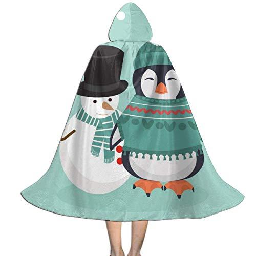 Amanda Walter Pingino de Invierno con mueco de Nieve Capa con Capucha para nios para la Fiesta de Navidad de Halloween, Disfraces de Vampiro Brujo Mago de Cosplay para nios con Sombrero