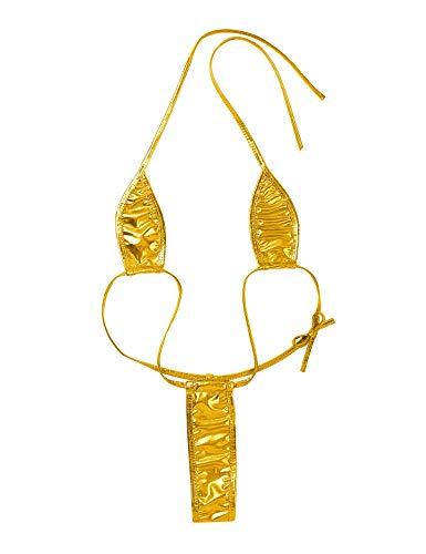 iiniim Damen Dessous Micro Bikini Tankini Dreipunkt-Unterwäsche Badeanzug Monokini Mini Body String Einheitsgröße Gold B Einheitsgröße