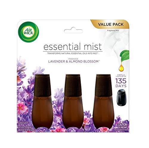 Air Wick Essential Mist Refill Essential Oils Diffuser, Lavender and Almond Blossom, Lavender and Almond Blossom, 3 Count