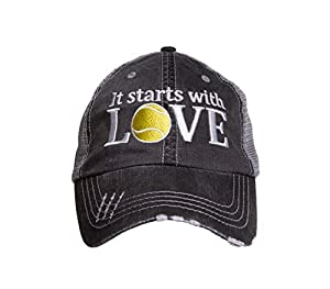 Tennis Addiction - It Starts with Love - Fun Tennis Distressed Trucker Hat Black