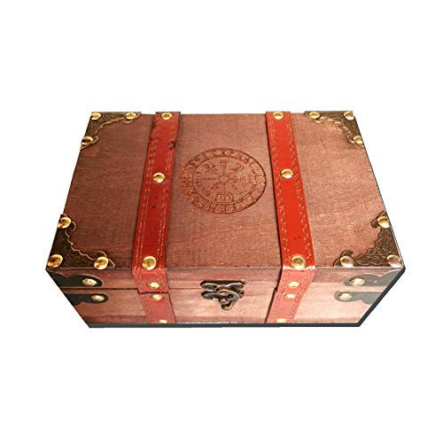 8.3' Wood and Leather The Runic Viking Compass Chest Box, Vegvisir Engraved Wooden Treasure Box with Velvet Lining, Vintage Tarot Box and Chalice Set (Box Only)
