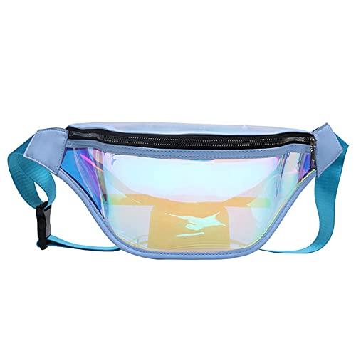 WLOWS Riñonera holográfica para Mujeres/Hombres, riñonera Brillante Iridiscente con láser Transparente de PVC, riñonera con cinturón Ajustable para Fiestas, Senderismo,Azul
