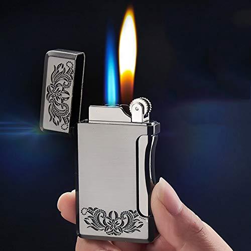 SADSA Accendino Accendino a Gas butano Intagliato Accendino Antivento Dritto Doppio Fiamma Blu Accendisigari Accendino Gonfiabile Accessori per Fumato