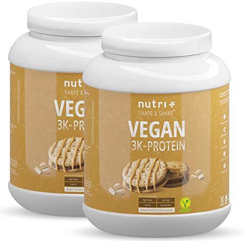 Veganes Eiweißpulver Erdnussbutter Cookie 2kg - 79,1% Eiweiß - 3k-Proteinpulver Peanutbutter Cookies - Protein Pulver 2000g ohne Milch & Lactose - Nutri-Plus Shape & Shake