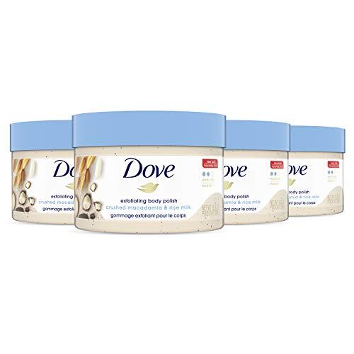 Dove Exfoliating Body Polish Scrub Reveals Visibly Smoother Skin Macadamia & Rice Milk Body Scrub That Nourishes Skin, 10.5 oz, 4 Count