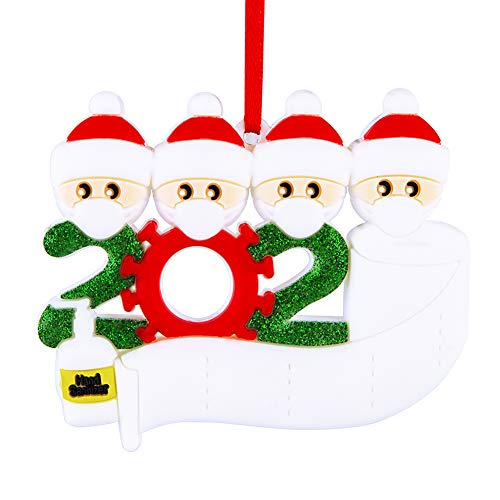 Personalized Christmas Ornament Kit,2020 Christmas Tree Ornaments Quarantine Survived Family Members Name Gifts, Customized Xmas Decorating DIY Set Hand Sanitized & Toilet Paper(Customize IT Yourself)