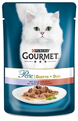 PURINA GOURMET Perle Duetto Katzenfutter nass, mit Kalb und Ente, 24er Pack (24 x 85g)