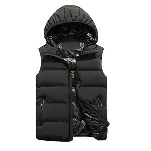 Vestes d'hiver Hommes Gilets À Capuche sans Manches Chaud en Coton Manteau Coupe-Vent Zipper Vest Poches Tops Plus La Taille L-5XL -Green_XXXL