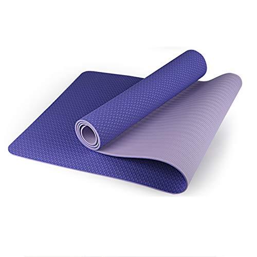 WXHXSRJ Esterilla de yoga,respetuosa con el medio ambiente de TPE alineación,esterilla de yoga,doble capa,antideslizante,resistente al desgarro,para yoga,pilates y gimnasia,violeta + morado claro