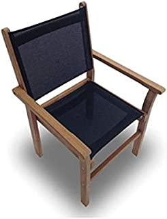Royal Teak Collection CAPB Captiva Sling Stacking Chair, Black
