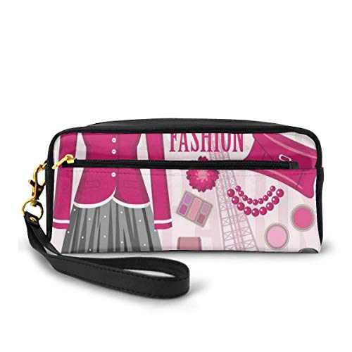 Pencil Case Pen Bag Pouch Stationair, Mode Thema In Parijs Met Outfits Jurk Horloge Portemonnee Parfum Parisienne Landmark, Kleine Make-up Bag Coin Purse