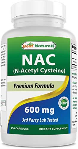 (New Improved Formula) Best Naturals NAC - N Acetyl Cysteine 600 mg 250 Capsules - n Acetyl cysteine - Powerful antioxidant