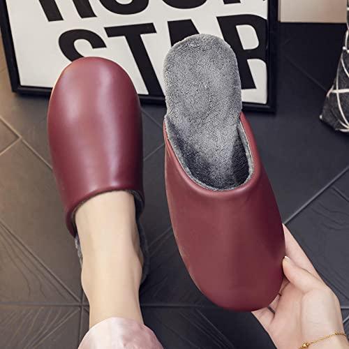 Cxypeng Slippers Unisex-Adulto,Zapatos Hechos a Mano de algodón de Cuero PU a Prueba de Agua, Zapatos caseros de Suela Suave Antideslizante-Vino ro,Chanclas Antideslizantes de Felpa para Mujer
