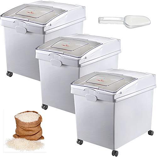 VEVOR Mehl und Reis Behälter Kapazität 25 kg, 3 Stück Aufbewahrungsbox Küche 35,5 x 50 x 45 cm, dreifach Vorratsdosen 14 x 19,7 x 17,7 Zoll weiß Speicherung für Getreide und Anderen Trockenwaren