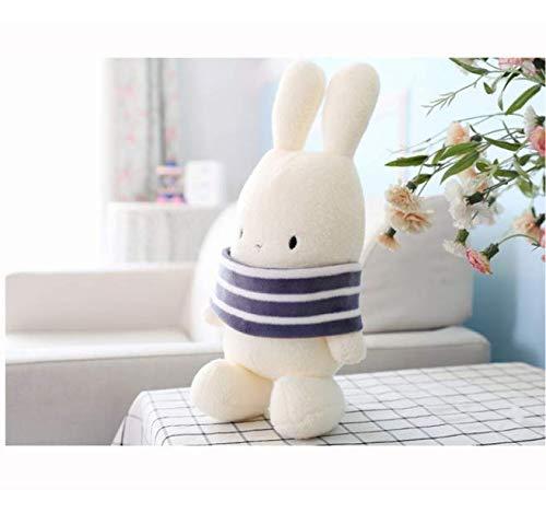 RKZM Nette Karikatur-Wellen-Kaninchen-Puppe füllte weiches weißes Kaninchen-Spielzeug-Mimi-Kaninchen-Puppe-Baby-Komfort-Kissen-Kind-Mädchen-Geschenk 25Cm