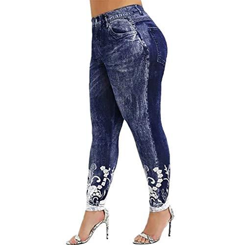 Ekrfxh Pantalones de yoga para mujer, cintura alta, control de barriga, ajuste holgado, pantalones deportivos de pierna ancha, azul marino, L