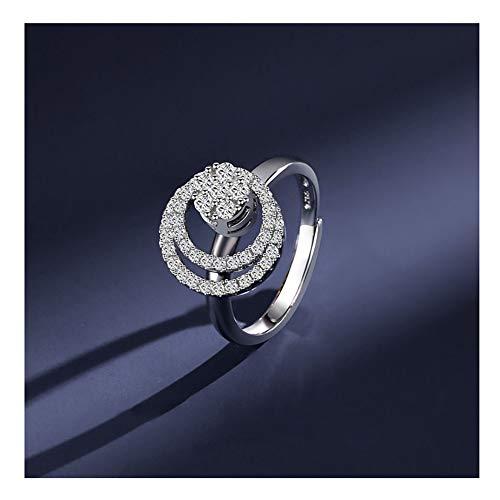 MLSJM 925 zilveren roterende zirkonia trouwringen voor dames dames, verstelbare wikkel open verlovingsring, geschikt voor voorstel, verloven, trouwen