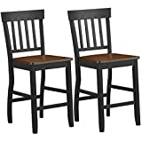 COSTWAY Set of 2 Classic Counter Stool, 24 inch Seat Height Solid Rubber Wood, Black Base and Walnut Seat, Sturdy Construction Side Chairs with Smooth Surface, Comfort for Living Room, Bedroom, Kitche