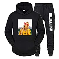 Xdsy Billie Eilish カジュアルで快適なフード付きスウェットシャツスーツフーディースウェットパンツスーツ,8,XXL