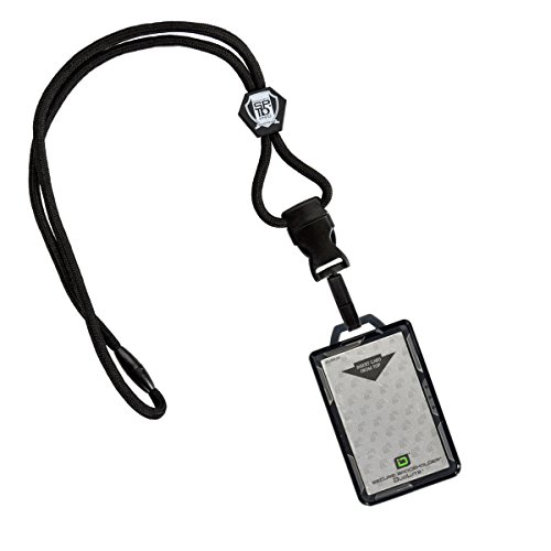 Specialist ID Heavy Duty Lanyard and Identity Stronghold 2-Card RFID Blocking Badge Holder - 2 Sided/Blocks 13.56MHz Signal (Black)